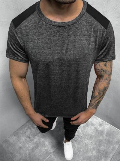Workout Style Sweat Absorbing Contrasting Heathered Relaxed Shape Straight Silhouette T-Shirt