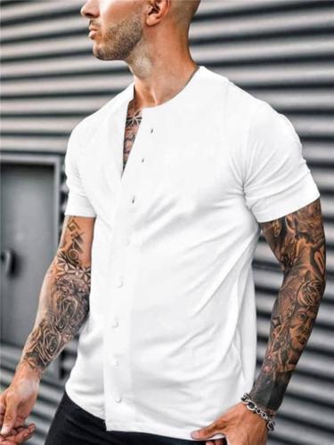 Minimalist Style Round Neck Short Sleeve Straight Hem Front Button Fastening Shirts