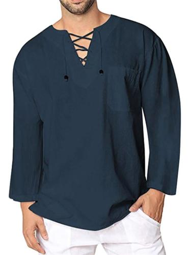 Soft Touch Front Lace-Up Design V Neck Long Sleeve Linen-Cotton Pullover Shirt