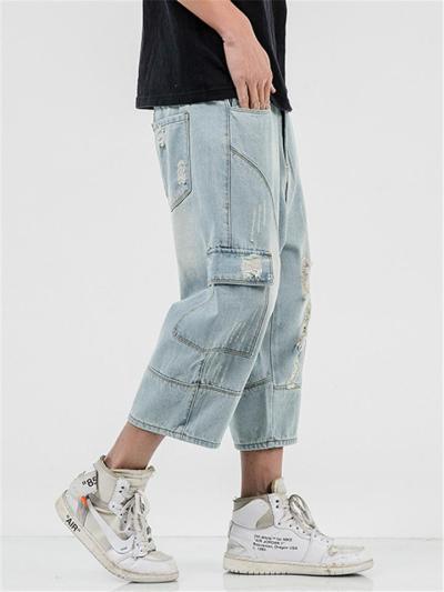 Mens Vintage Loose Plus Sized Cropped Denim Pants