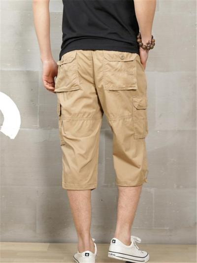 Mens Casual Outdoor Cropped Cargo Pants With Pockets