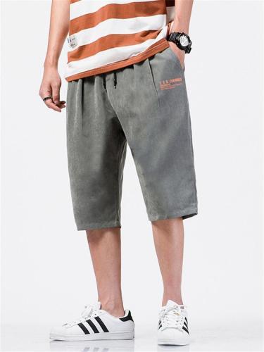 Casual Pure Color Print Elastic Waist Sports Shorts