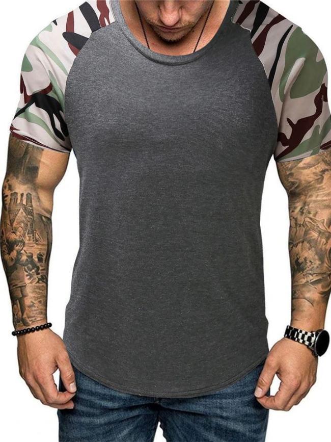 Regular Fit Curved Hem Round Neck Contrasting Color Camouflage Print T-Shirt