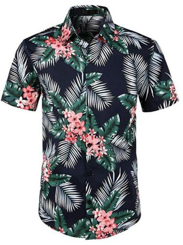 Floral All-Over Print Short Sleeve Classic Pointed Collar Front Button Fastening Shirts