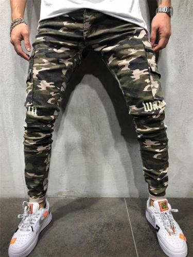 Mens Casual Slim Fit Elastane Camo Ankle Pants