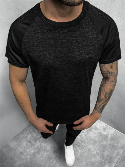 Workout Style Sweat Absorbing Contrasting Heathered Straight Silhouette Short Sleeve T-Shirt