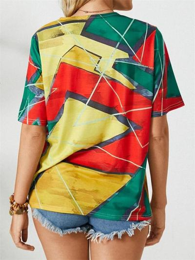 Relaxed Straight Silhouette Round Neck Contrasting Print Short Sleeve Pullover T-Shirt