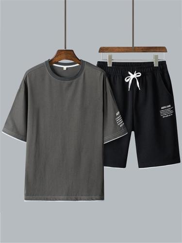 Mens Casual Loose Print Short Sleeve T-Shirts+Shorts