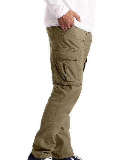 Mens Casual Straight Cargo Pants With Pockets