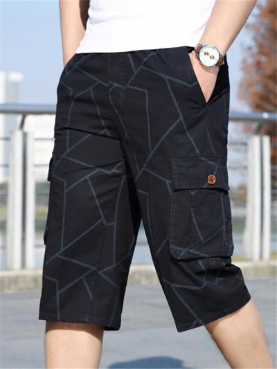 Mens Casual Outdoor Stripe Cropped Cargo Pants
