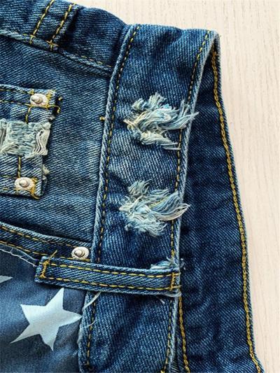 Raw Edge Flag Print Thigh-Length Patchwork Ripped Design High-Rise Denim Shorts