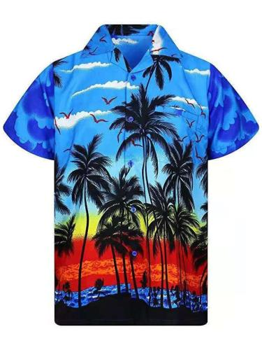 Landscape All-Over Print Pointed Collar Short Sleeve Straight Hem Front Button Fastening Shirts
