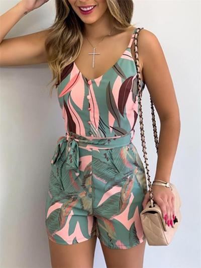 Fashion V-Neck Leaf Print Lace-Up Wide-Leg Jumpsuit