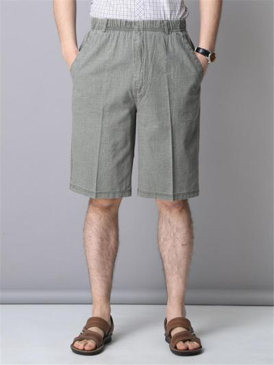 Mens Comfy Summer Linen Beach Knee Shorts