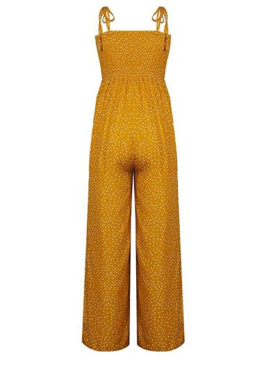 Casual Polka Dot Print Wide-Leg High-Waist Jumpsuit