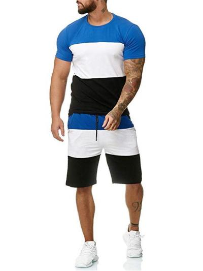 Mens Comfy Patchwork Personality Slim Fit Short Sleeve T-Shirts+Shorts
