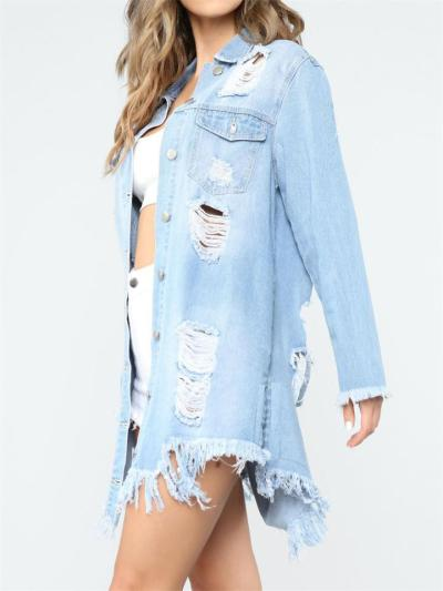 Solid Color Street Style Ripped Button Denim Coat