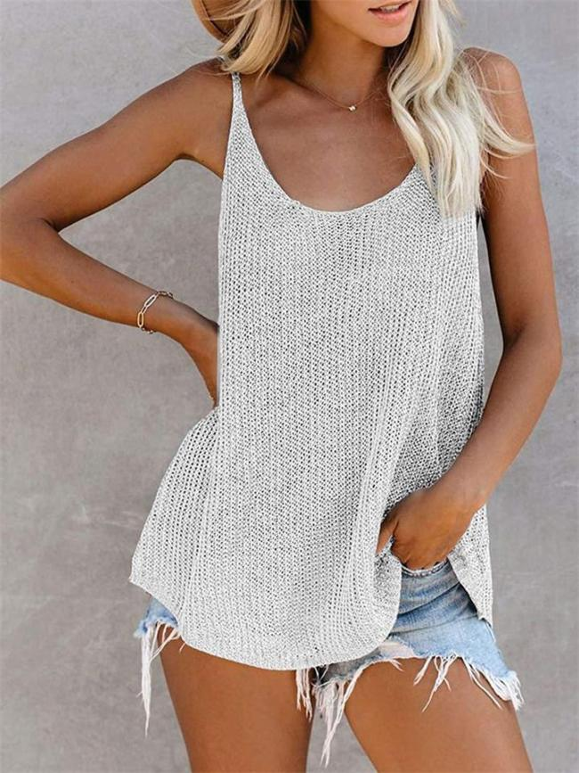 Knitted Solid Color Round Neck Sleeveless T-Shirt