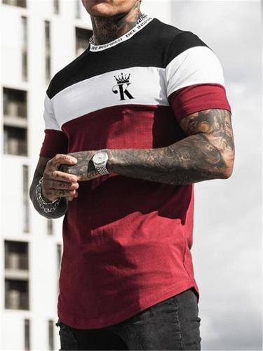 Mens Patchwork Print Personality Fashion Casual Short Sleeve T-Shirts