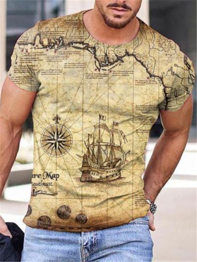 Mens Print Personality Casual Fashion Short Sleeve T-Shirts