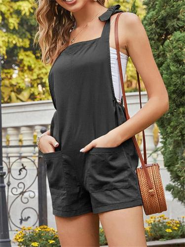 Casual Solid Color Loose Sleeveless Jumpsuit
