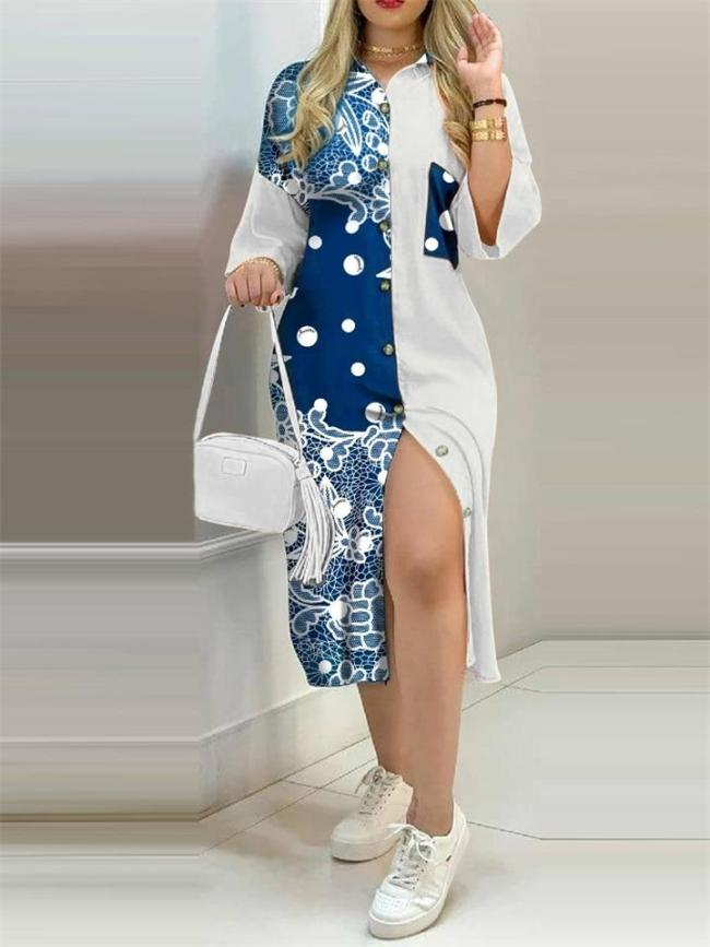 Casual HalfSleeve Polo Neck Button Printed Dress