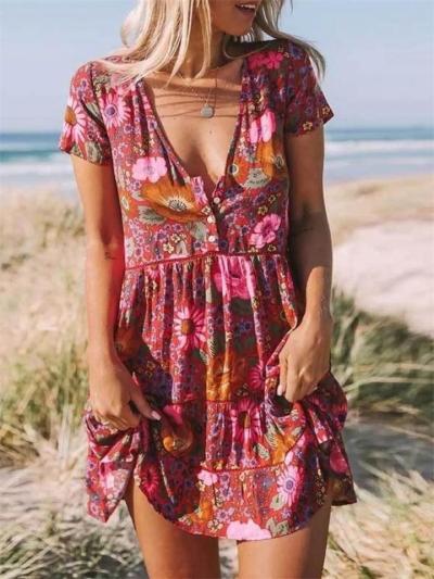 Print V-Neck Pleated Short Sleeve Dress