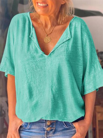 Casual Short Sleeve Loose Cotton V-Neck T-Shirt