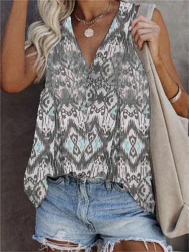 Casual V-Neck Sleeveless Printed T-Shirt