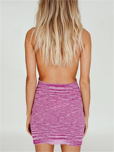 Sexy Backless V-Neck Sleeveless Striped Slim Dress