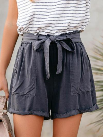 Loose Lace-Up Mid-Waist Solid Color Urban Casual Slim Roll-Up Shorts