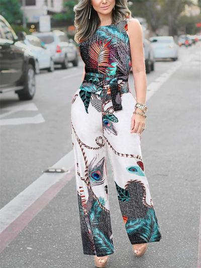 Street Style Sling Peacock Feather Print Jumpsuit