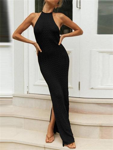 Knitted Hollow Sling Slit Backless Slim Dress