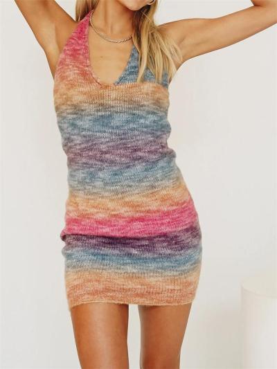 Sexy V-Neck Rainbow Print Sleeveless Dress