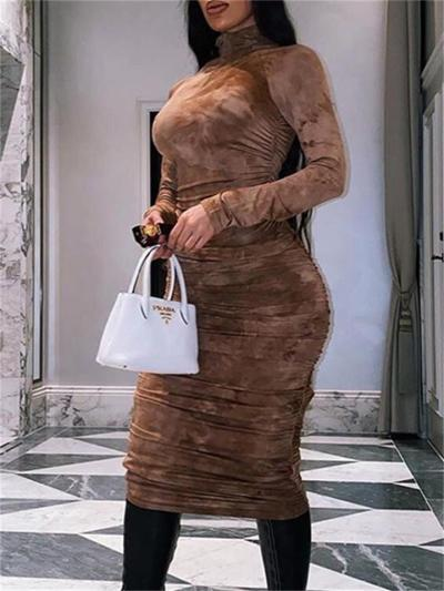 Fashion Round Neck Long Sleeve Printed High Waist Dress
