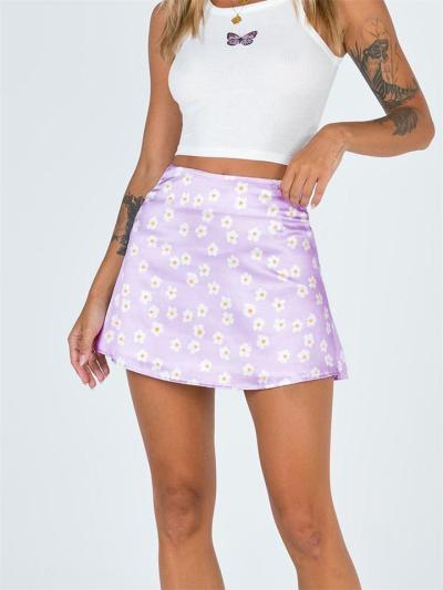 High Waist Zipper Small Flower Leopard Print Skirt
