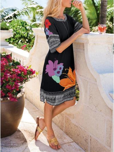 Casual V Neck Print Mid-Waist Dress