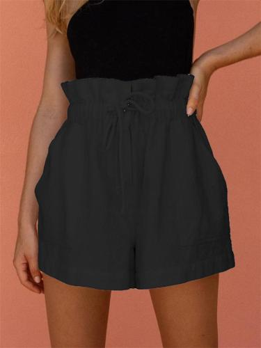 Casual Solid Color Loose Drawstring Wide-Leg Shorts