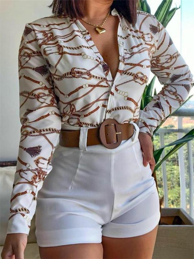 Long Sleeve Digital Print Stand Collar Shirt + Solid Color Shorts