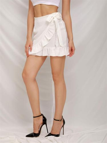 Solid Color Lace-Up Zipper Ruffle Skirt