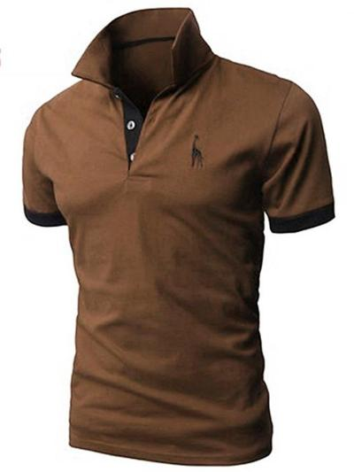 Business Patchwork Knit Fashion POLO Casual Short Sleeve Shirts