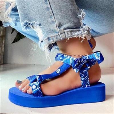 Wedge Heel Print Plus Size Velcro Sandals