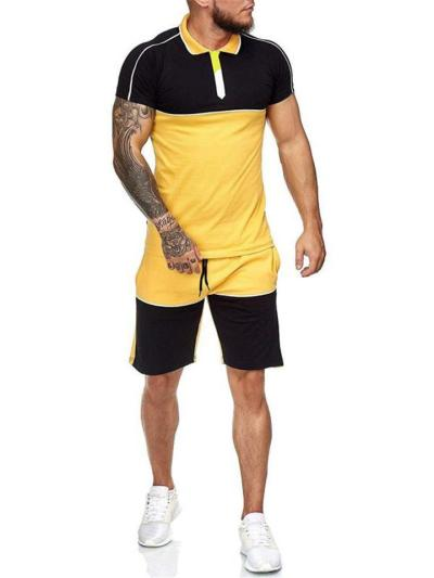 Mens Comfy Patchwork Personality Slim Fit Short Sleeve Shirts+Shorts