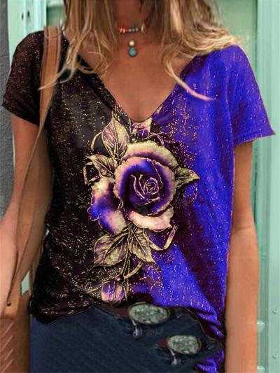 Loose V-Neck Rose Print Short-Sleeved T-Shirt