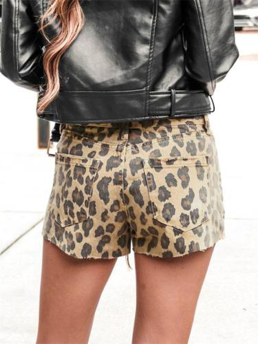 Casual Raw Edge Leopard Print Fashion Denim Shorts