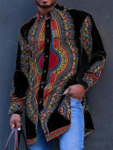 Mens Casual Print Fashion Comfy Long Sleeve Shirts