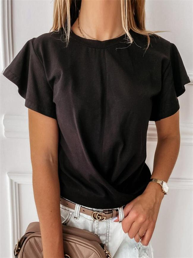Solid Color Ruffled Short-Sleeved T-Shirt