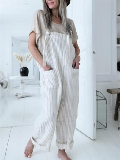 New Arrival Loose Striped Overalls