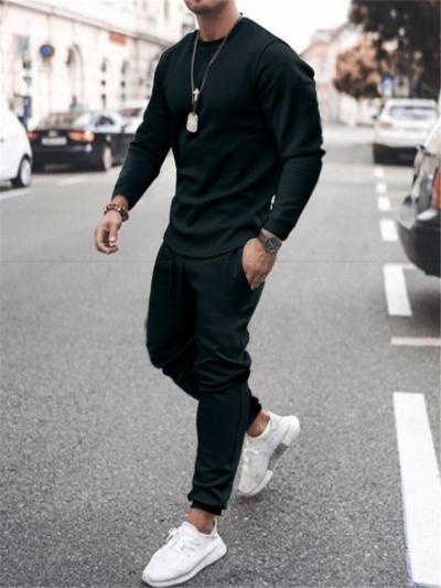 Mens Pure Color Soft Fashion Workout Long Sleeve T-Shirts+Pants