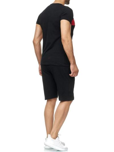 Mens Comfy Patchwork Personality Short Sleeve T-Shirts+Shorts
